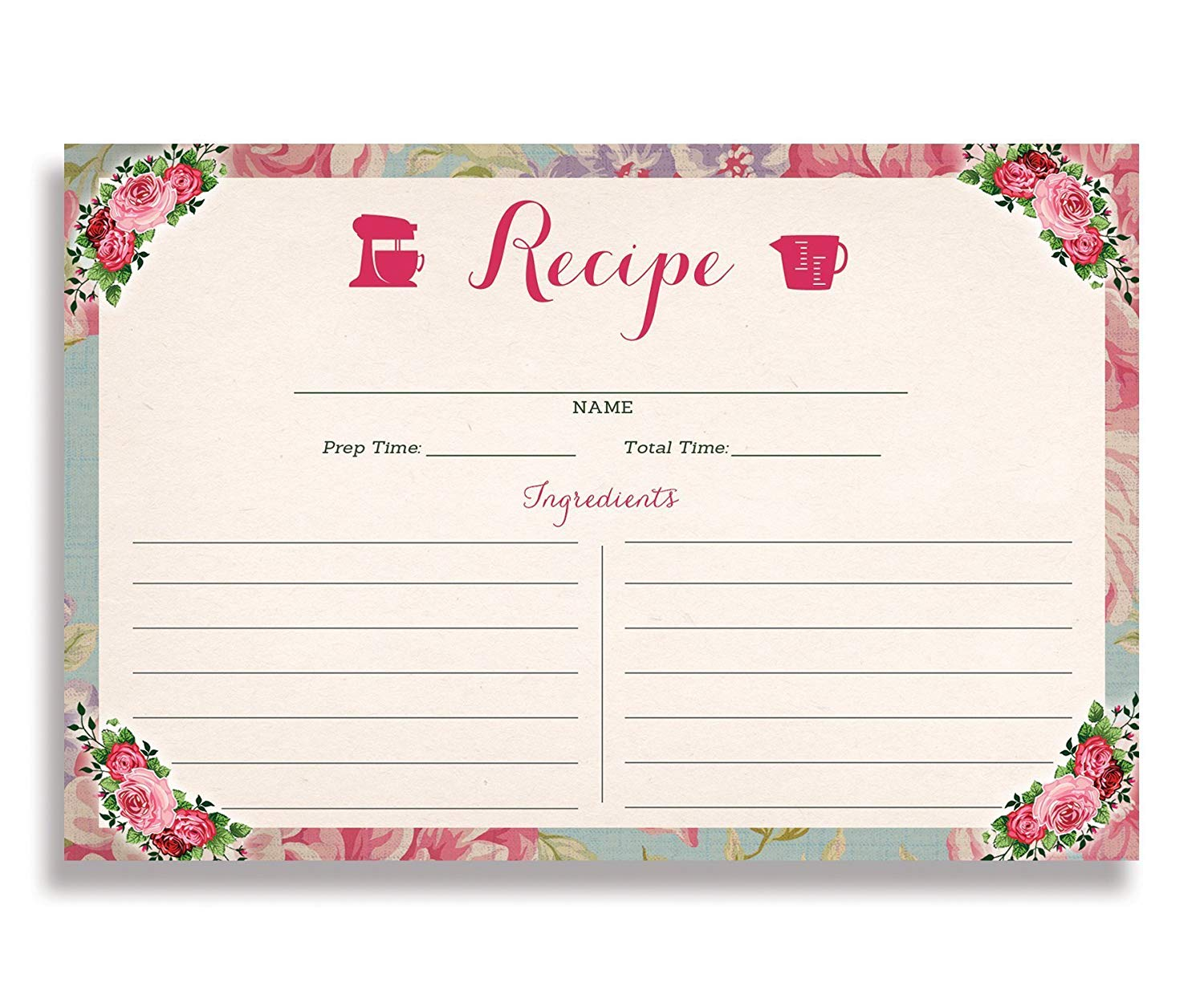 Floral and Gold Stripe Recipe Cards 4x6 inches Set of 25 Mady Gold Double Sided Card Stock Recipe Card Set