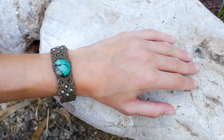 Turquoise macrame bracelet, Tibetan Turquoise, boho, natural stone, macrame bracelet, silver and turquoise, macrame, Hippie, beach, Gift