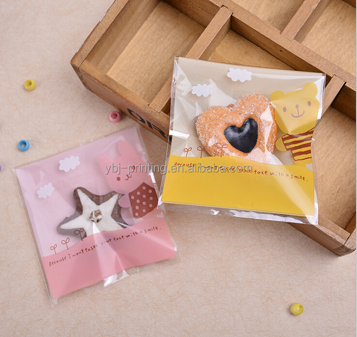 opp/cpp cute waterproof candy bags with adhesive tape for kids