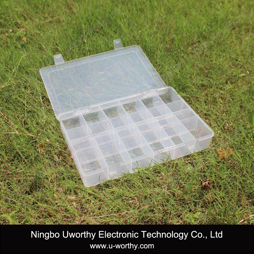 Large 36 grid plastic clear hinged lid craft storage for Plastic grid sheets crafts