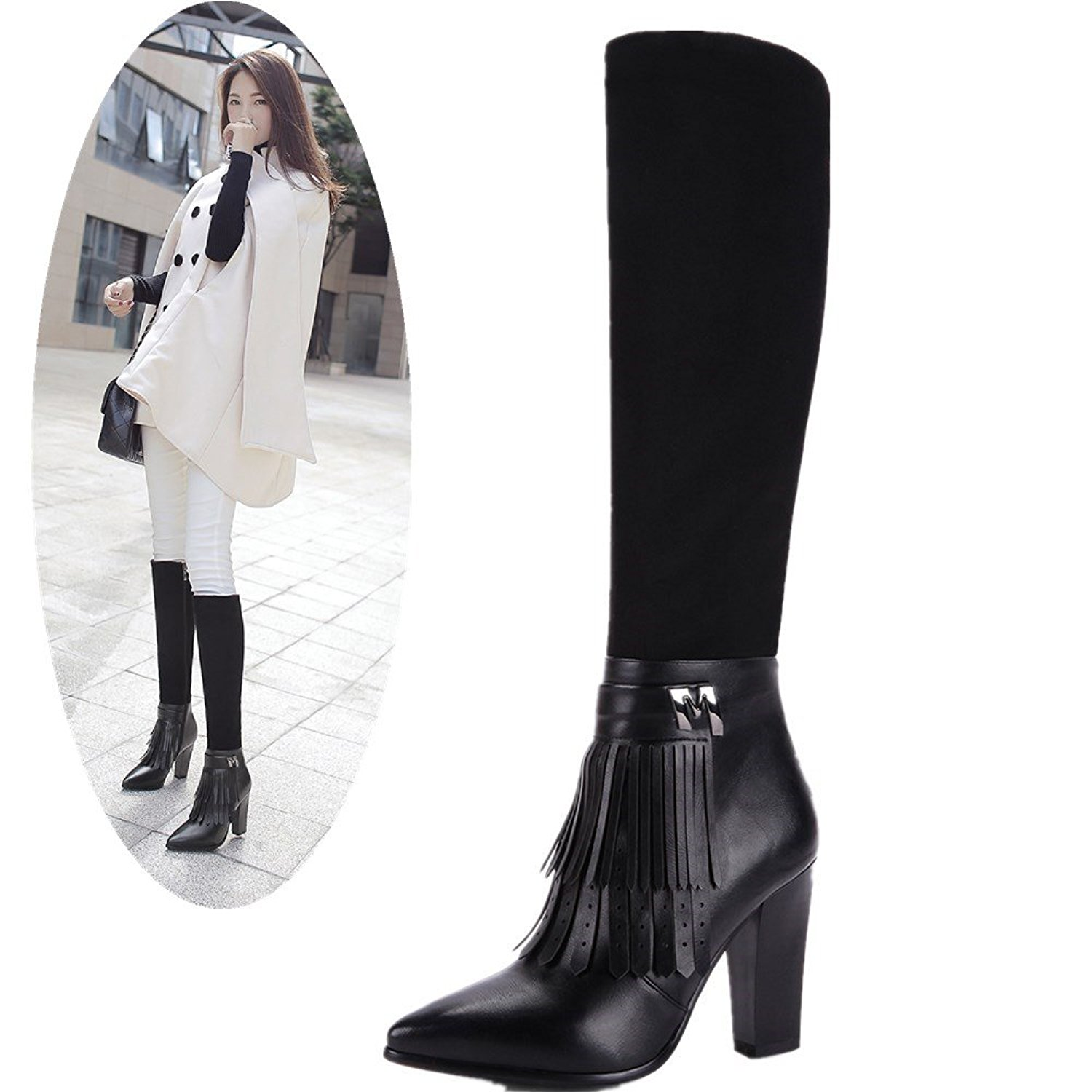 7e330cac47 Get Quotations · NIQI Women High Heel Boots Pointed Toe Knee High Heel  Fringe Boots Suede Leather Tall Boots