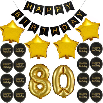 80th Gold Balloon And Happy Birthday Banner Balloons Anniversary Decoration