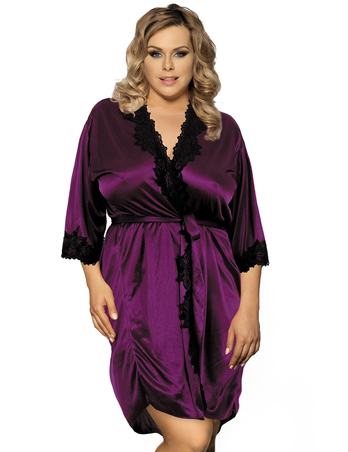 Get Quotations · Maxde Women s Sexy Sleepwear Satin Kimono Bath Robe Floral  Lace Lingerie Robe with Underwire Purple 381c25ab5