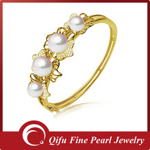 Luxury 18K Solid Gold Diamond Freshwater Pearl Bracelet bangles Designs