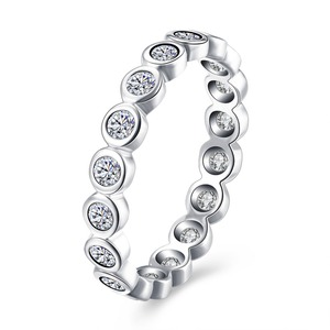SJLN160 Round Bezel Setting 925 Sterling Silver Tiny Jewelry Stackable Ring For Women Eternity Band White Gold Plated Daily Gift
