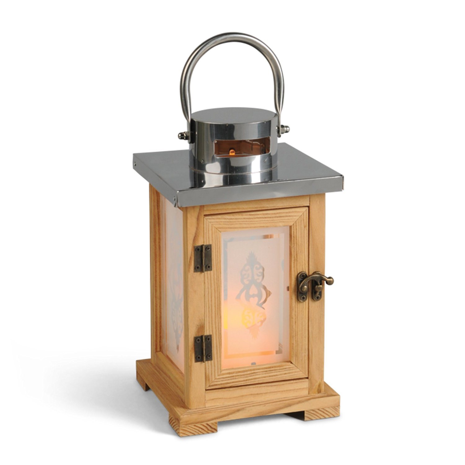 ... Gerson 10 Inch Wood And Stainless Steel Lantern With 3 By 6 Inch Indoor