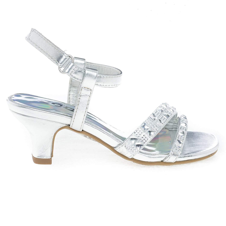 67db7db6057b Get Quotations · Children s Low Heel Metallic Dress Sandal w Rhinestone Encrusted  Strap