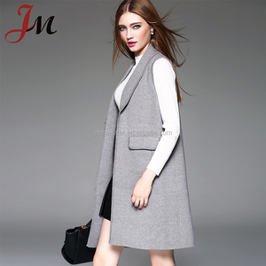 Newest winter knitting long cardigan European stylish women lapel sleeveless coat