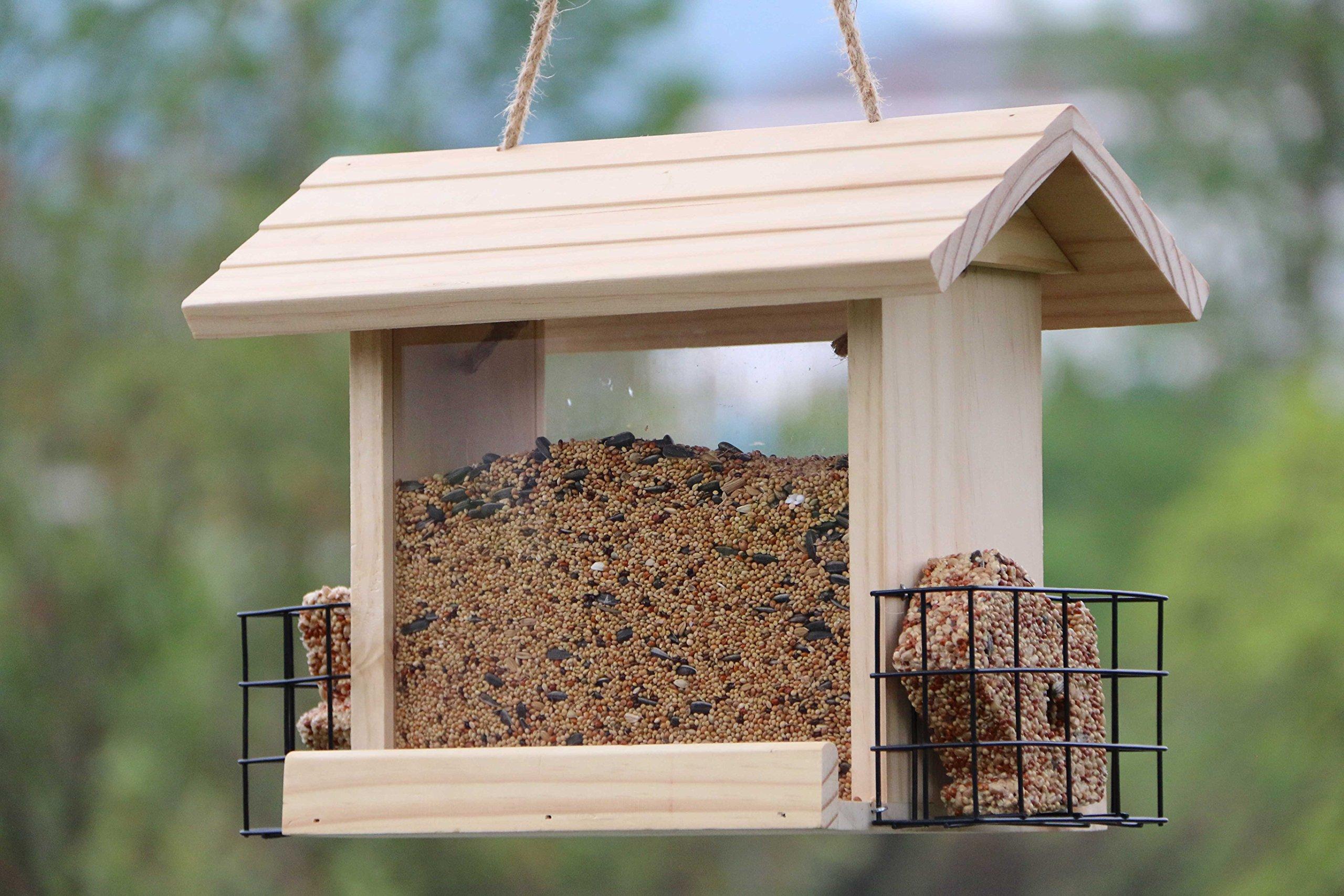 """Gardirect Deluxe Wooden Wild Bird Feeder with Suet Baskets (12.6"""" x 7"""" x 9.8"""")"""