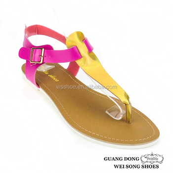 0c7961d062b2 TPR sole thong colors matching iron buckle stylish flat sandals for girls