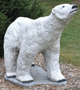 Large Size Outdoor Animal Figurines Life Resin Plush Polar Bear Statue