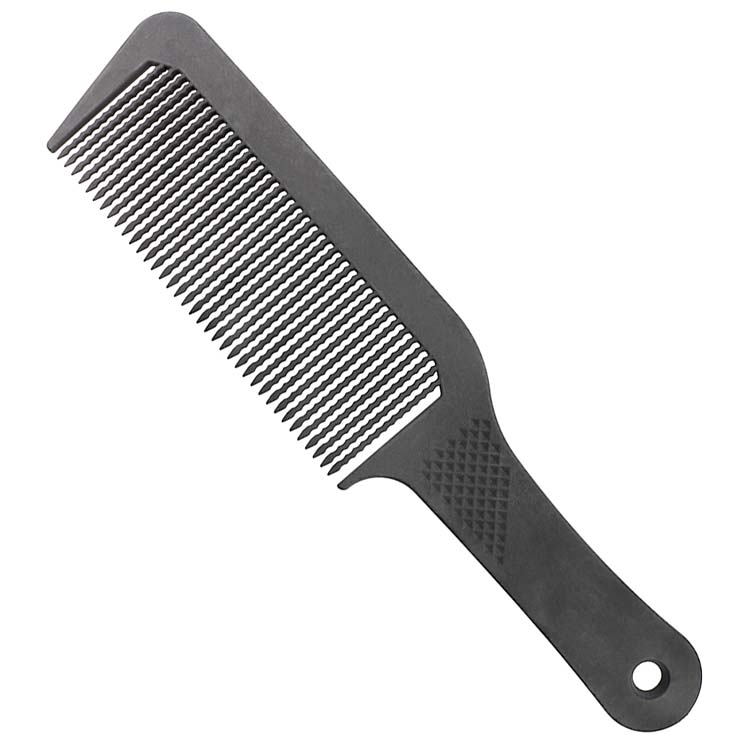 Cheap custom professional haircut antistatic black flat top salon press cutting comb plastic pressing carbon clipper barber comb