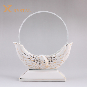 3D Engrave UV Colour Printing Optical Glass Trophy Round Crystal Plaque Crystal Award Trophy For Ceremony