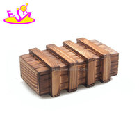 Children Kids Gift Brain Teaser Educational Toys Wooden Puzzle Box With Secret Drawer W11C029