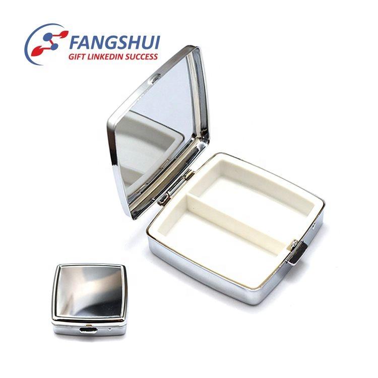 Fazer o seu próprio dia de viagem portátil japonês três compartimentos espelho redondo caixa do comprimido do metal