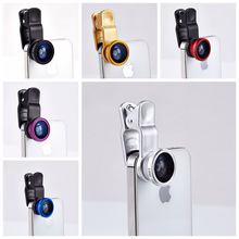3 in 1 fisheye macro wide angle mobile phone lenses for Nokia lumia 520 630 525 640 640xl 930 1020 1520 XL camera universal clip