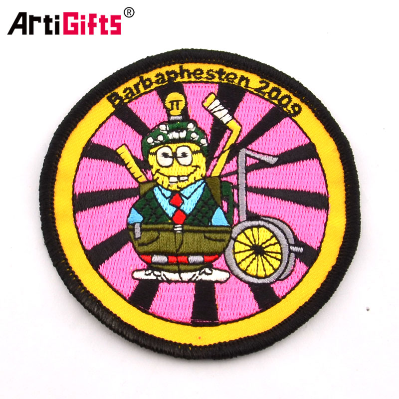 Factory artigifts custom logo  chinese character patch embroidery