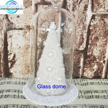 Winter white Christmas tree under glass cloche ornament from Shenzhen factory