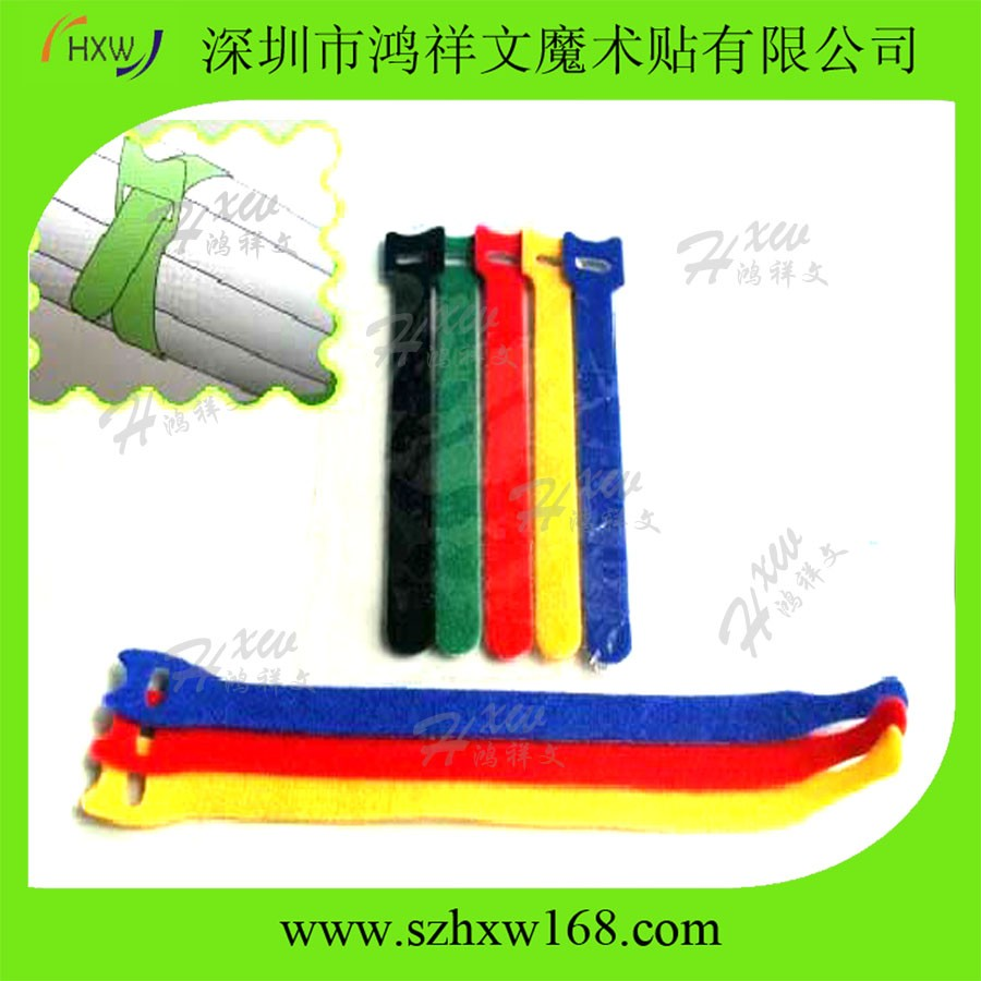 Customized back to back double side hook and loop cable tie
