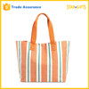 Customized Fashion Vertical Stripe Canvas Shopping Bag With Interior Zipper Pocket