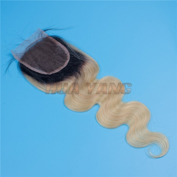 Wholesale Alibaba Brazilian Human Hair Body Wave Ombre Two Tone 1b /613 Blonde Lace Closure