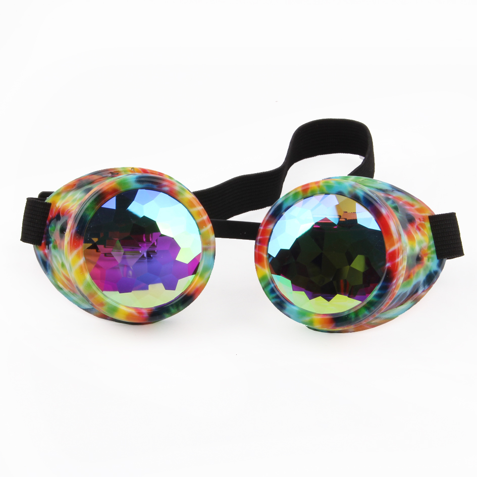 Steampunk goggles met Crystal lenzen, PC frame OEM ronde bril caleidoscoop bril