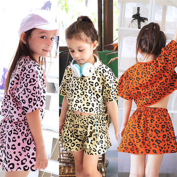 Causal Leopard Printed Short Sleeve Summer Girls Clothing Set Children Clothing