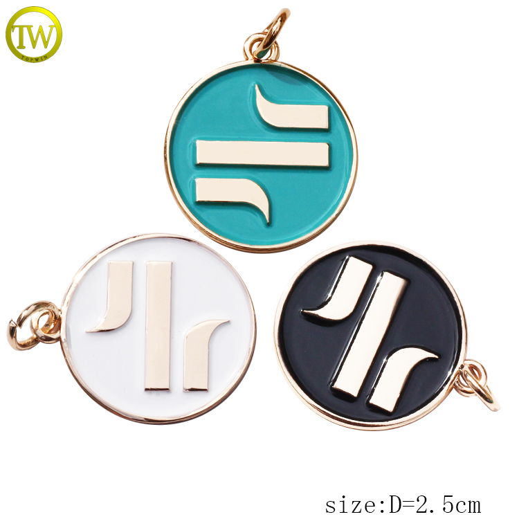 Custom debossed logo tags jewelry tags for necklace metal charms