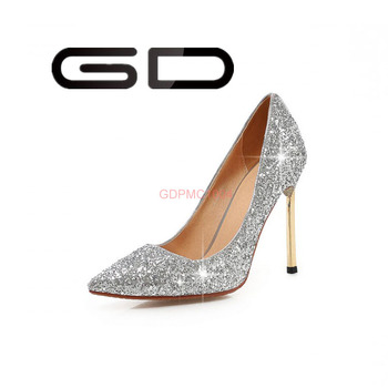 1d398c210fe6 Top brand women high heel evening shoes stiletto shining golden silver
