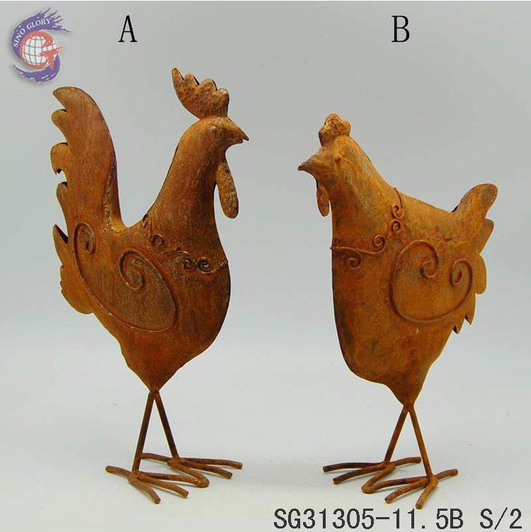 Garden Decorating Rusty Metal Yard Art Chicken