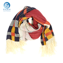 2017 Wholesale plaid printed winter knitted scarf