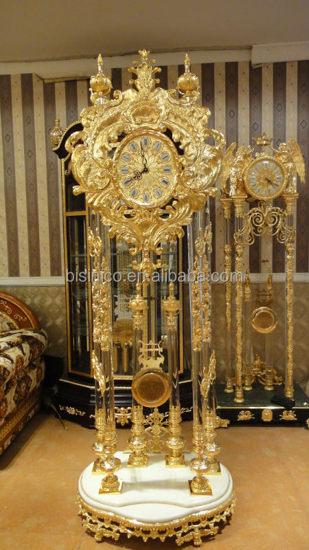 Gorgeous Gilt Brass Grandfather Clock With 24k Gold Plated