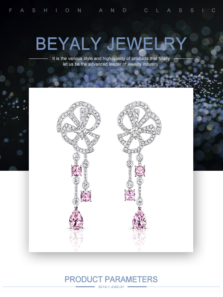 product-BEYALY-Traditional Pink Stone Drop Silver Ear Cuff Wrap Clip Earring-img