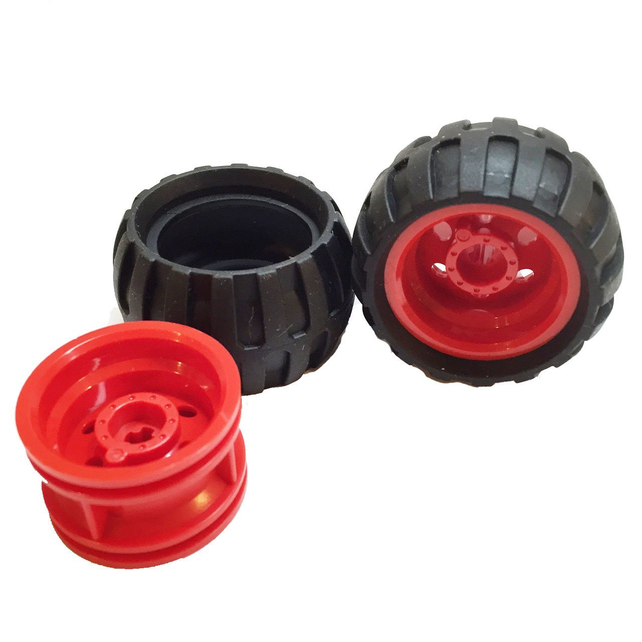 Lego Parts: Off-Road Wheels Tire and Rim Bundle (2) Black 43.2mm x 26mm Balloon Tires (2) Red 30.4mm x 20mm Wheel Rims