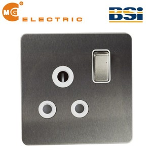 Ultra flat plate screwless brushed steel 45a cooker switch
