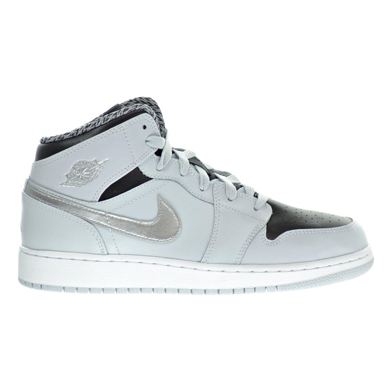 74708a29ee9c Get Quotations · Air Jordan 1 Mid BG Big Kids Shoes Pure Platinum White  Silver Black