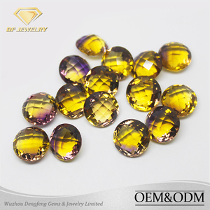 Round cut AAA synthetic gem ametrine crystal stone lead free glass crystal stone for jewelry