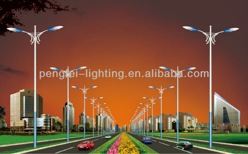 8M,circular steel pole with doubel street light bracket; customized pole design