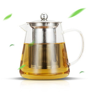 450ml 700ml 950ml Large Hand blown Loose Leaf Glass Tea Pot with Stainless Steel Infuser and Lid