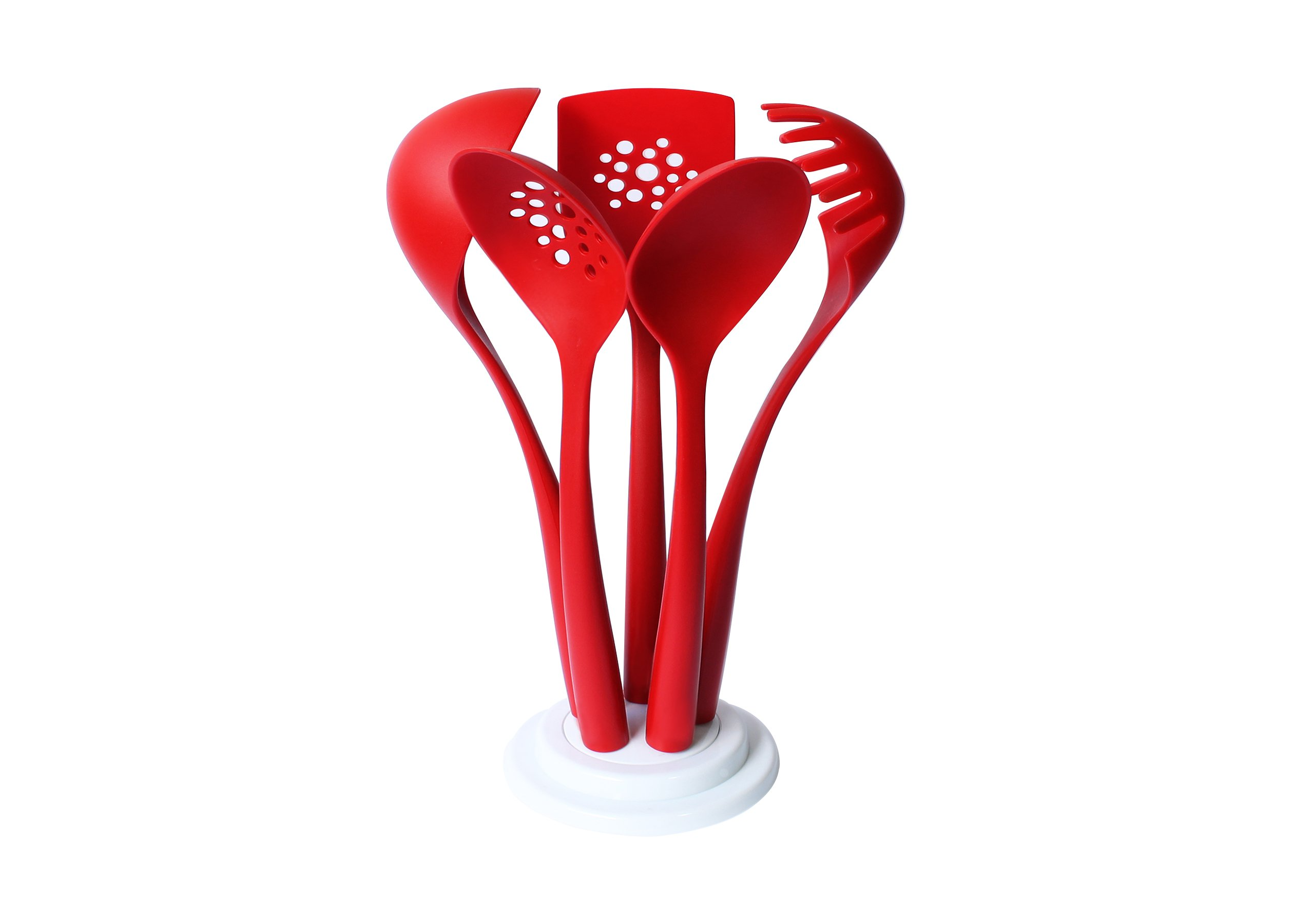 Get Quotations · Magic Cuisine Nylon 5pc Kitchen Utensils Set With Stand    Red Color   Home Cooking Tool
