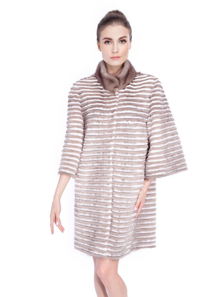 Qiudu Women's Mink Fur Coat With Sheared Rex Rabbit Stripes