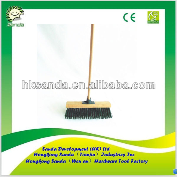 wooden block cleaning dust brush with wood handle