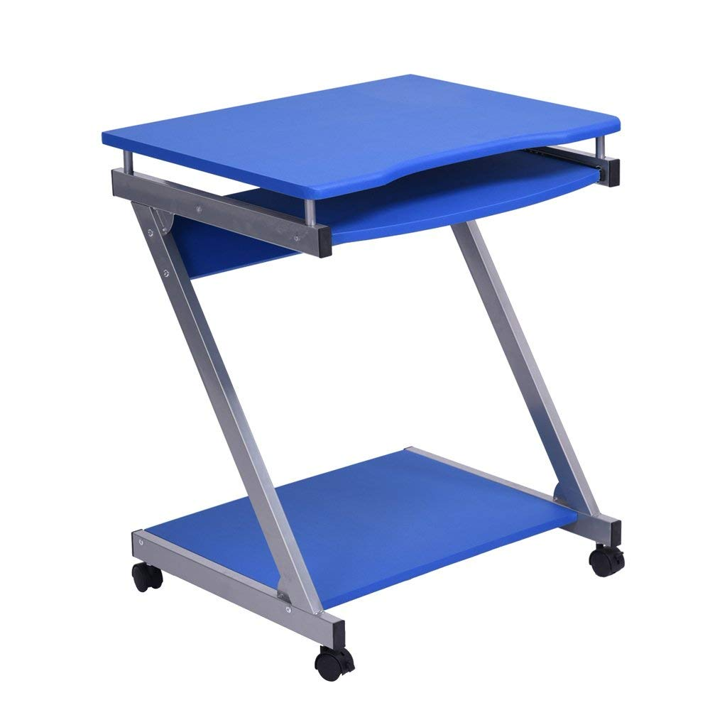 Homy Casa | Compact Portable Office Work Station | Laptop Computer Desk | Mobile Rolling Caster Utility Table with Pull Out Writing Surface/Keyboard Tray and Desktop Bottom Shelf (Blue)