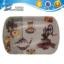 New coffee design printing plastic flat rectangle gift and serving plates