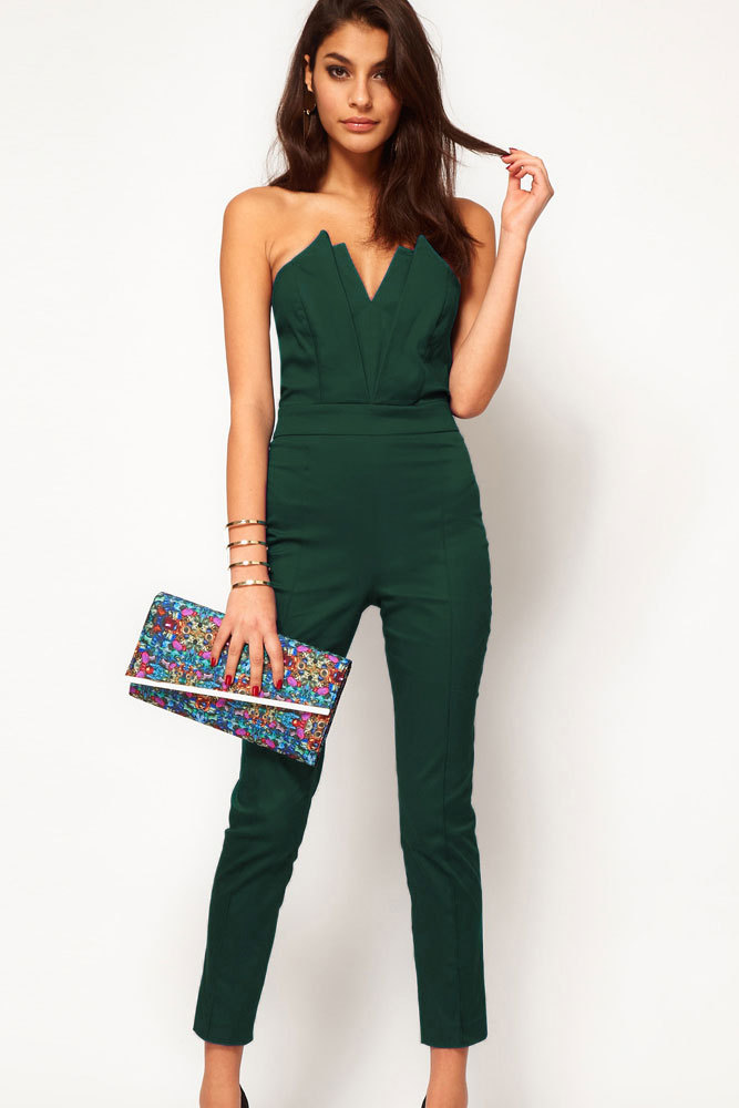 f8b88ffcaf Get Quotations · Casual macacao feminino Green Sexy Jumpsuit with Pleated  Bust Origami Detail Rompers Jumpsuit women 2015 hot