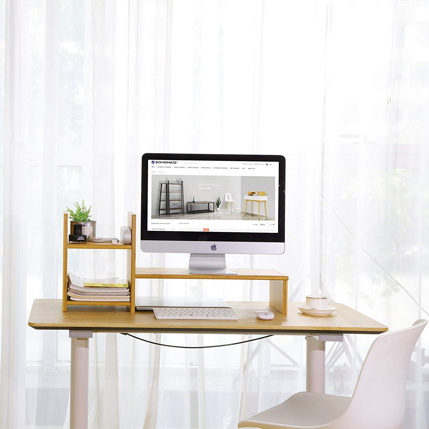 Adjustable Dual Wood Desk Riser Bamboo Computer Monitor Stand With