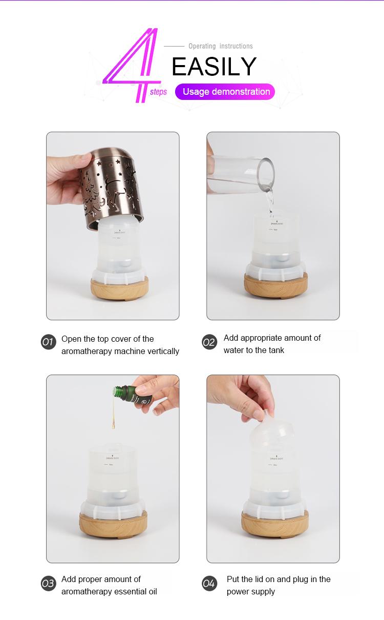Moda pequeno ultrasonic aroma difusor de aroma de óleo essencial umidificador de ar fresco perfume com efeito de estufa atomizador fragrância