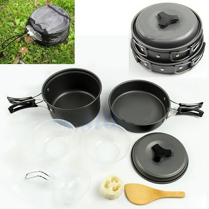 8pcs Outdoor Camping Hiking Non-stick Cookware Set Backpacking Cooking Picnic Bowl Pot Pan Set Stainless Steel Cookware