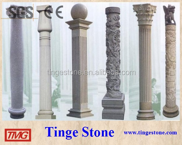 Polished stone pillar and round column designs beige marble