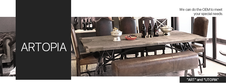 Industrial style Solid wood  dining table